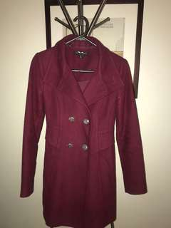 Forever new maroon pea coat 6