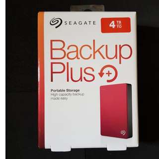 """Seagate 4TB Portable External HDD Hard Disk Drive Backup Plus 2.5"""" - Brand New (Red)"""