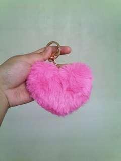 Pink heart fur keychain