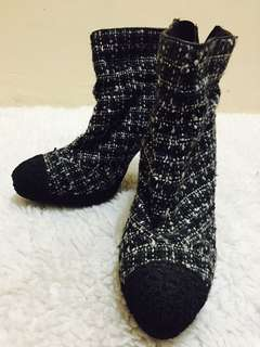 Authentic Chanel CC Tweed Ankle Boots
