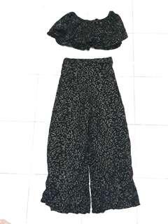 off shoulder crop top and pants terno