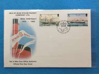 1982 Isle Of Man Steam Packet Co. Mail Contract 1832-1982 First Day Cover