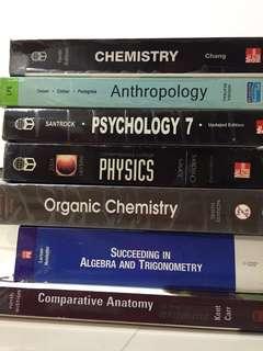 Chemistry, Physics, Anthropology, Psychology, Algebra and Trigonometry, Comparative Anatomy Textbooks