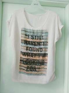 夏季 米白色 短袖 圖案 圓領 針織 清爽 透氣 女裝上衣