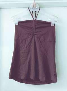 夏季 掛頸 背心 啡色 Top 上衣 綿質 襯衫 打底 旅行 陽光與海灘 顯瘦