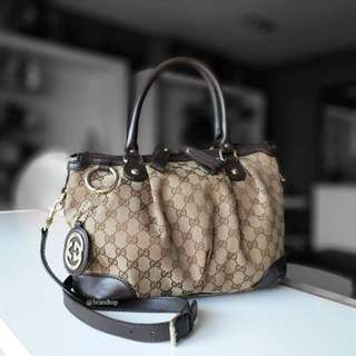 Authentic Gucci GG Canvas Sukey Top Handle Bag
