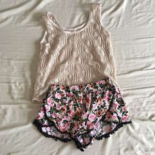 Buy 1 Get 1: Forever 21 Boho Floral Shorts + Crochet Top