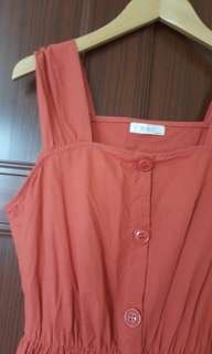 🚚 橘紅寬帶大口袋洋裝#女裝半價拉