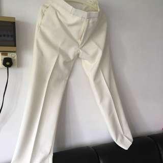 Cream/White High Quality Pants Office Wedding