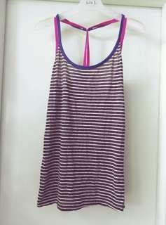 夏季 間條背心 打底 藍色 粉紅色