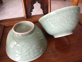 Green Porcelain Big Bowls 🍀