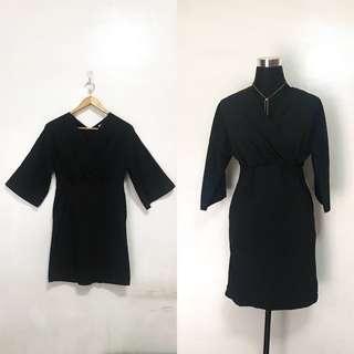 Black Semi Wrap Semi Formal Cocktail Evening Dress