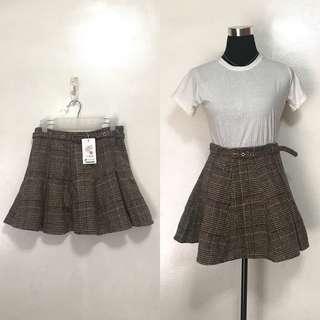 Brown Plaid Mini Skater Skirt w Belt
