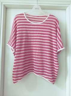 夏季 紅白 短袖 針織 大圓領 勾織 女裝 透氣  通爽 摟空 寬鬆 大碼 罩衫 韓版 不規側則 間條上衣