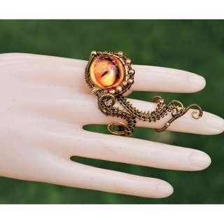 Orange Yellow Evil Eye 2 Fingers Ring Unique Wire Wrap Party Finger Art Jewelry