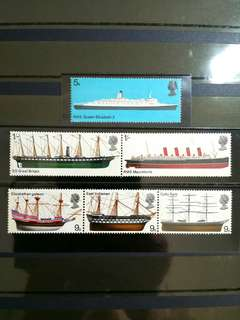 British Royal Mail Mint Stamps: British Ships, 15th Jan 1969, Set of 6 (3v of 9d value stamps arranged in horizontal se-tenant & 2v of 1s value in horizontal se-tenant, all as originally acquired in undetached fine mint condition (Great Britain GB)