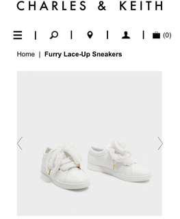 Charles and Keith CK Furry Lace Up Sneakers
