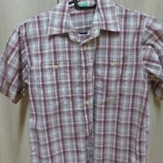 PRE-LOVED BENETTON KIDS BOYS POLO LAVENDER CHECKERED SIZE LARGE