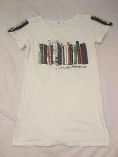 Korean Ladies Simple Long Tee White T-Shirt #70fashion