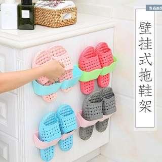 🚚 客廳衛浴黏膠掛壁式鞋架 波浪分隔立體鞋架墻體簡易壁掛收納層架