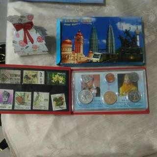 馬來西亞旅遊 紀念冊 7郵票/實體6硬幣/錢幣