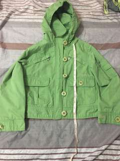 Green jacket with hood