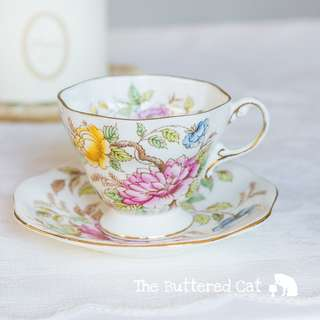 Lovely vintage hand-coloured vintage English teacup and saucer, Peony