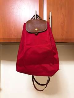 Original Longchamp Le Pliage Drawstring Backpack Red
