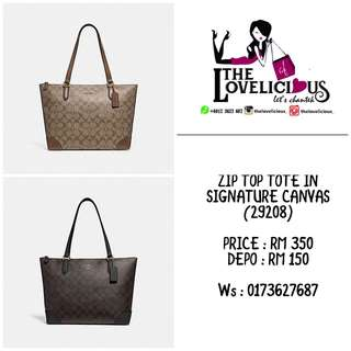 ZIP TOP TOTE IN SIGNATURE CANVAS COACH F29208