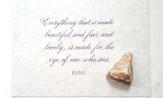 Handwritten calligraphy rumi quote