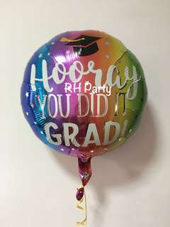 (18/6) Include Helium Graduation / Congrats Grad Foil Balloon ( Hooray you did it grad well done)