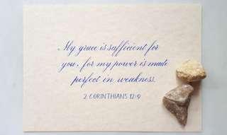 Handwritten calligraphy biblical verse