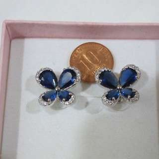 SAPPHIRE BUTTERFLY DESIGN WHITE STUD EARRINGS HIGH QUALITY FASHION JEWELLERY