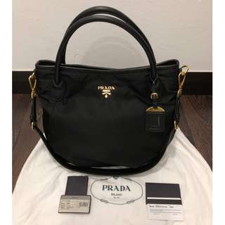 PRADA Black Tessuto Nylon and Leather Top Handle Bag BR4420