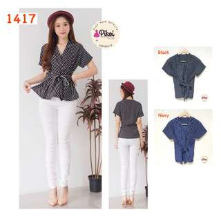 Baju kantor / atasan peplum murah / blouse wanita kerja / garis salur / 1417