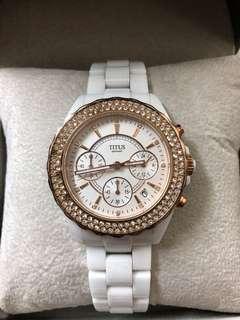 鐵達時 Titus 全陶瓷白色手錶
