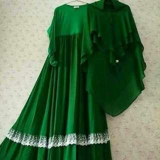 BL - 0418 - Dress Gamis Wanita Busana Muslim Jazeerah Plus Kerudung