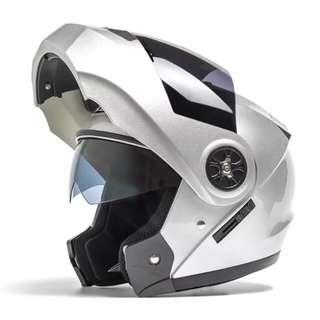 Silver Grey Full Face Flip Up Motorcycle Bike Modular Helmet with Double Inner Lens
