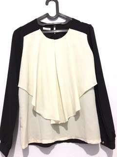 NEW!!FREE ONGKIR!! black and white blouse