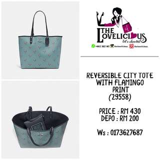 REVERSIBLE CITY TOTE WITH FLAMINGO PRINT COACH F29558