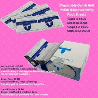 🚚 10pcs x Disposable Gelish Nail Polish Remover Wrap Pads Sheets