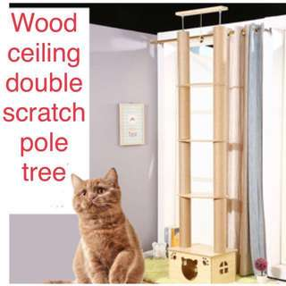 (New!)no drill wood ceiling tree dual scratch poles with house