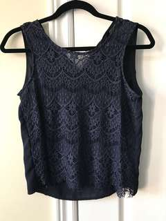(REDUCED) Navy Chiffon Laced Top