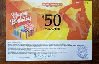 $50 World of Sports Voucher