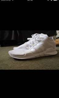 White adidas support Eqt shoes
