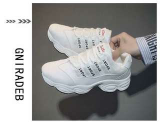 Size 9 Korean White Rubber Shoes Sneakers