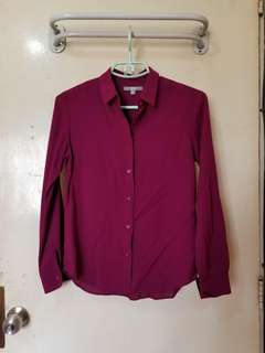 Uniqlo Rayon Long Sleeve Blouse (Small)