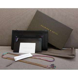 CHARLES & KEITH FRONT POCKET LONG WALLET WITH CHAIN