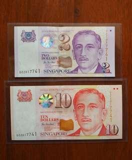 0ZZ Sg $2 $10 Identical number set