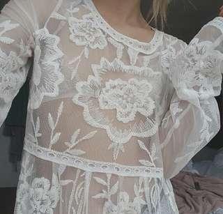 Boutique White Lace Dress